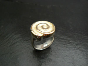 Circle of life ring in 14ky and sterling, with diamond, by Karen Bandy